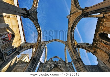 Ruins of museum of Carmo in Lisbon Portugal