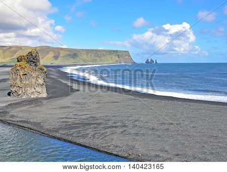 View of the Dyrholaey black beach, Iceland