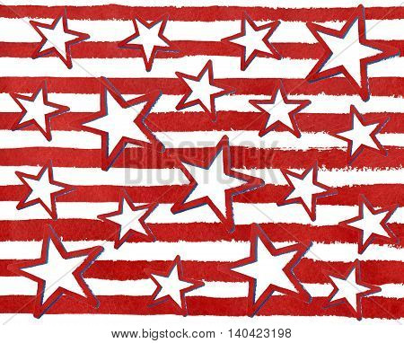 Watercolor Grunge Red Stars On Grunge Watercolor Red Stripes.
