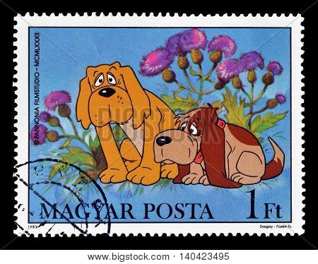 HUNGARY - CIRCA 1982 : Cancelled postage stamp printed by Hungary, that shows two dogs.