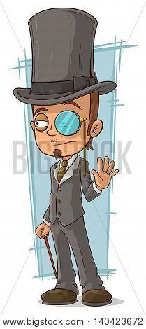 A vector illustration of cartoon intelligent man with walking stick