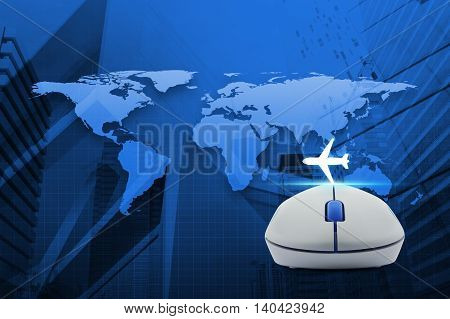 Wireless computer mouse with airplane icon over map and city tower Airplane transportation concept Elements of this image furnished by NASA