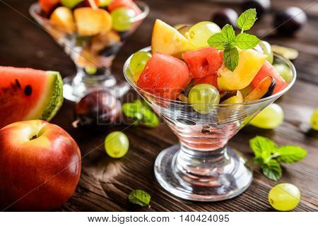 Fresh Fruit Salad With Watermelon, Plums, Nectarines And Grape