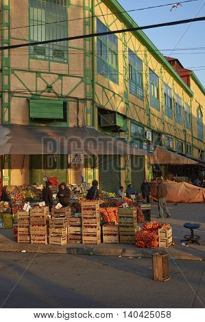 VALPARAISO, CHILE - JULY 5, 2016: Fruit and vegetables for sale in a street next to the historic market in Valparaiso, Chile