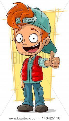 A vector illustration of cartoon little redhead boy