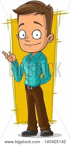 A vector illustration of cartoon office clerk in shirt and trousers