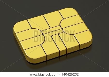 Credit Banking Card Chip or SIM card chip 3D rendering isolated on black background
