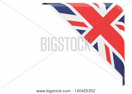 United Kingdom flag corner button label. 3D rendering isolated on white background