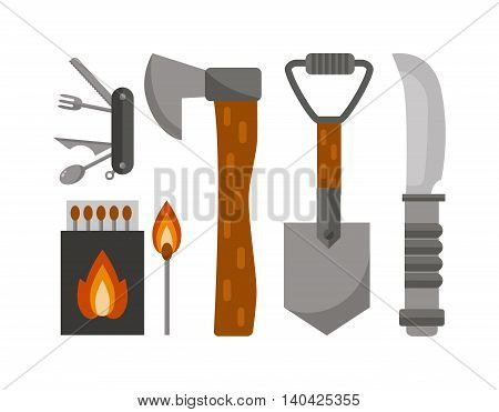 Colorful camping set icons. Vector camping tools design illustrations, camping tools infographic elements. Flat style camping tools and Camping tools travel knife, adventure camp survival leisure.