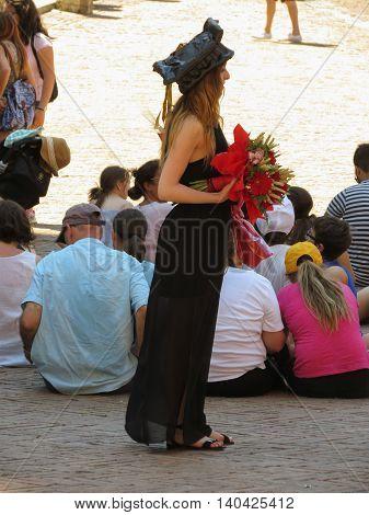 SIENA ITALY - CIRCA JULY 2016: Graduation ceremony on main square