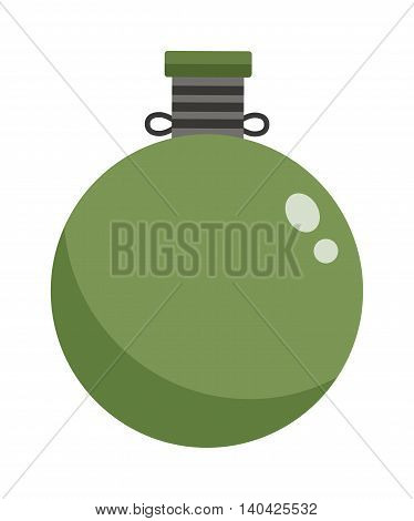 Army water canteen icon with case and military flask. Vector illustration of military canteens or flasks. Jar of water use in the campaign military flask. Military flask drink bottle container.