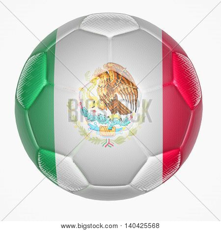 3D illustration of Soccer ball mapping with Mexico flag