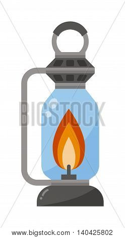 Street fire lamp isolated on white background flat vector illustration. Fire lamp for street traditional retro decorative. Antique style street used fire lamp. Street lamp and fire flame