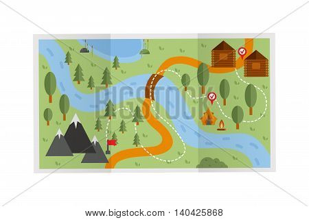 Road travel route map illustration. Travel route map vector and travel route map recreation concept. Flat design travel route map street cartography direction plan. Search pointer geography map.