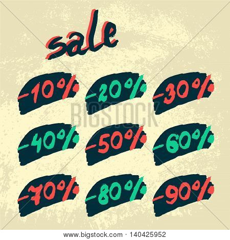 Vector discount labels. Set in the style of grunge.