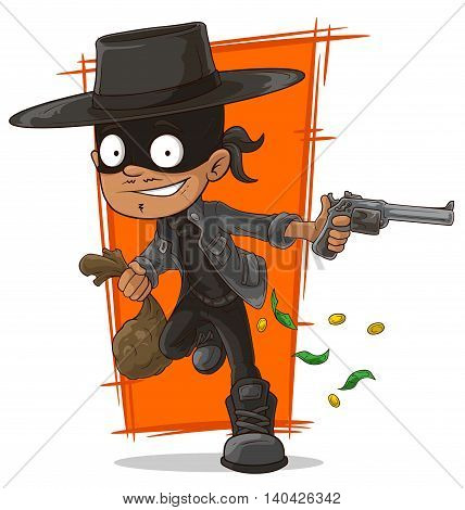A vector illustration of cartoon robber in mask and hat