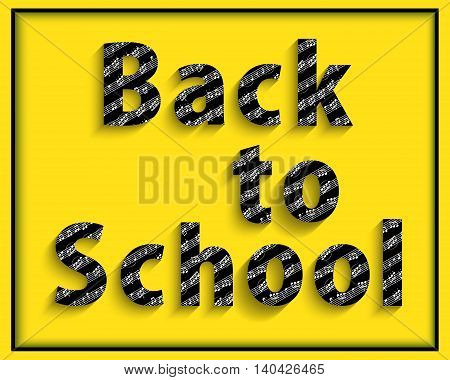 Back to school. Welcome text music notes. The first of September. Musical vector background.