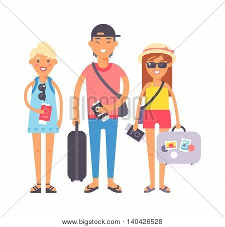 Summer people vacation traveling. Vacation people couple happy family travel together. Traveling family couple people on vacation together character vector illustration.