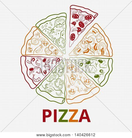 Vector contour pizza image composed of different pieces.