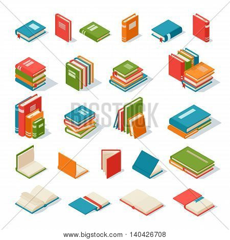 Books collection isolated on a white background. Literature paper books isolated and education books isolated vector illustration. Books isolated knowledge information school library.