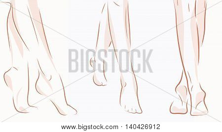 Collage of woman oman feet sketches isolated