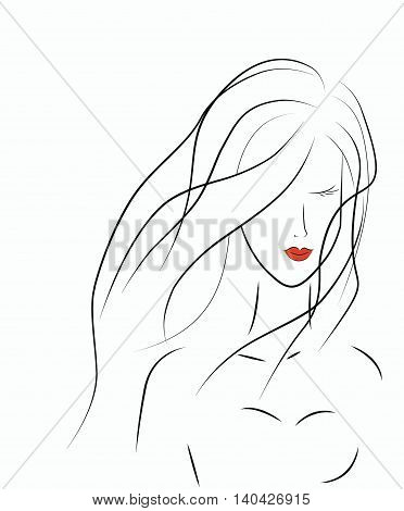 Sketch of a young girl isolated on white