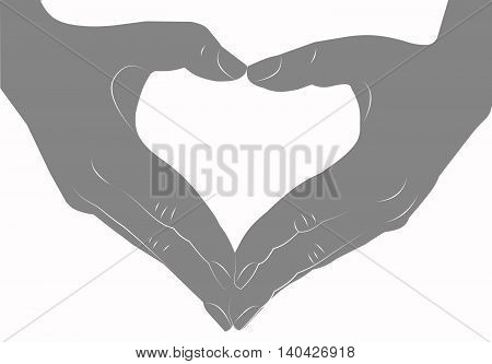 Hands making heart sign silhouette isolated on white