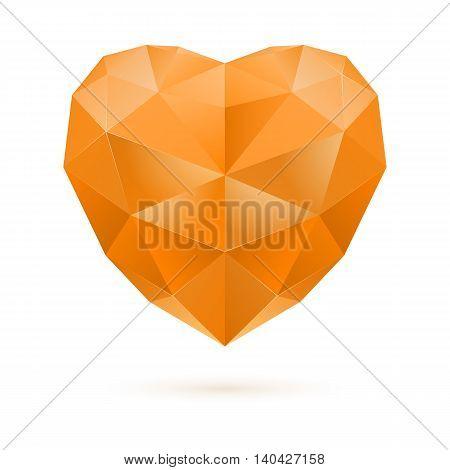 Orange polygonal heart on white background. Citrine gem