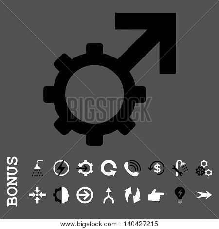 Technological Potence glyph bicolor icon. Image style is a flat pictogram symbol, black and white colors, gray background.