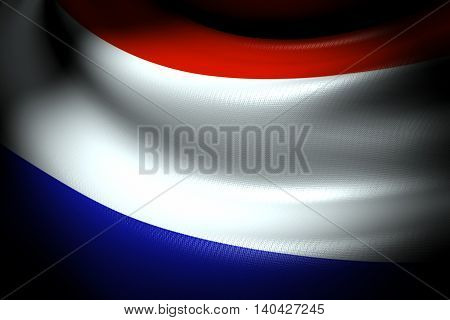 3D illustration of Flag of Netherlands in the dark with brightness spot