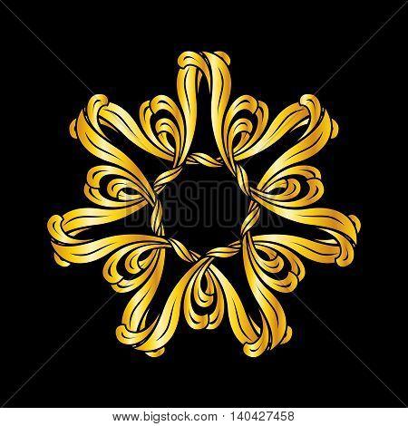 Illustration of ornate pattern in golden shades on black background