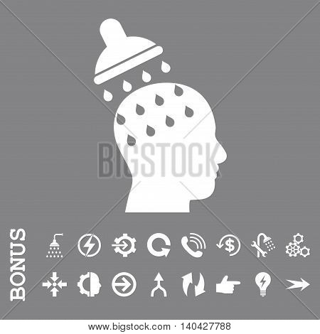 Brain Washing glyph icon. Image style is a flat iconic symbol, white color, gray background.