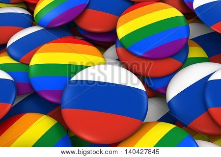 Russia Gay Rights Concept - Russian Flag And Gay Pride Badges 3D Illustration