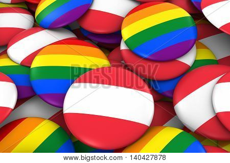 Austria Gay Rights Concept - Austrian Flag And Gay Pride Badges 3D Illustration