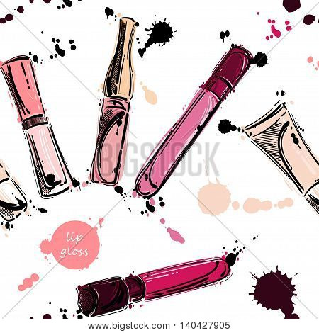 Vector seamless pattern with lip gloss. Beauty and fashion. Fashion illustration. Beauty saloon. Glamour
