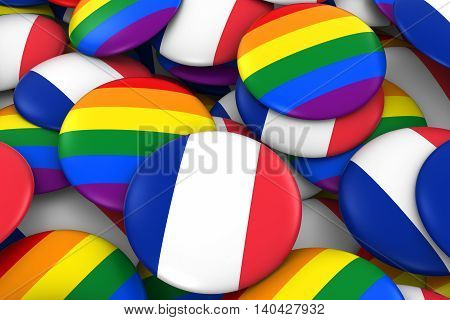 France Gay Rights Concept - French Flag And Gay Pride Badges 3D Illustration