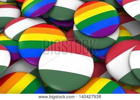 Hungary Gay Rights Concept - Hungarian Flag And Gay Pride Badges 3D Illustration
