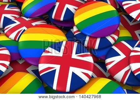 United Kingdom Gay Rights Concept - British Flag And Gay Pride Badges 3D Illustration