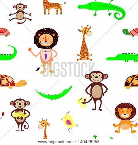 Vector seamless pattern with giraffe crocodile monkey lion turtles and birds. Funny animals.