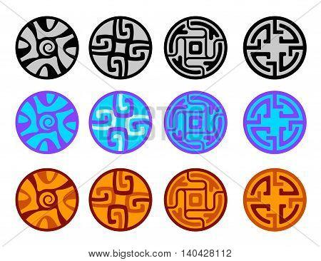 set of tribal solar decorative abstract elements