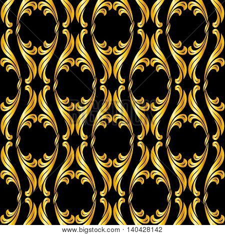Seamless floral pattern in golden shades on black background