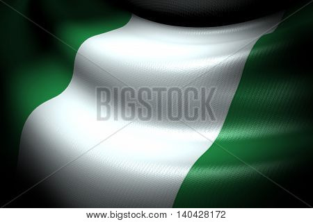 3D illustration of Flag of Nigeria in the dark with brightness spot