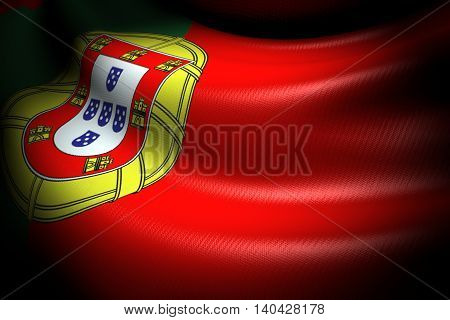 3D illustration of Flag of Portugal in the dark with brightness spot