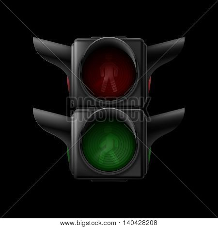 Realistic pedestrian traffic lights off. Illustration on black background