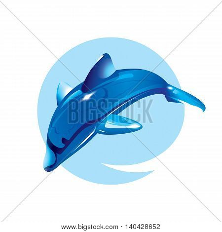 Crystal dolphin jump. Vector illustration of sea animal