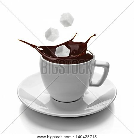 Ceramic cup with splashing coffee isolated on white