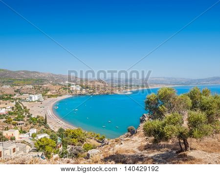 Vlycha Beach in summer sunny day at Rhodes island, Greece.