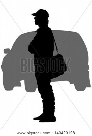 Sports man and car on white background