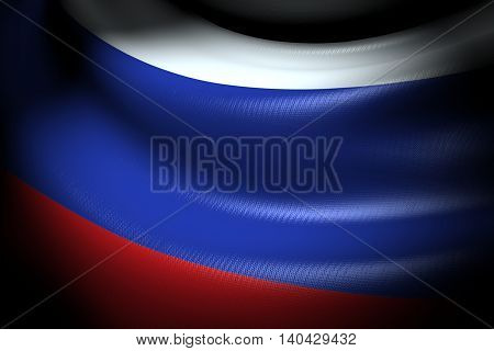 3D illustration of Flag of Russia in the dark with brightness spot