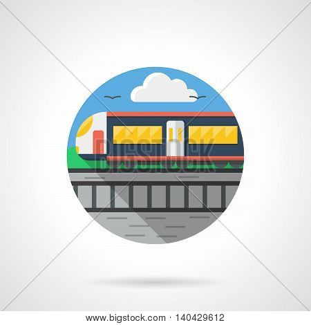 Abstract landscape with passenger train rides on rails. Means of transport concept. Urban railway. Round detailed flat color style vector icon.